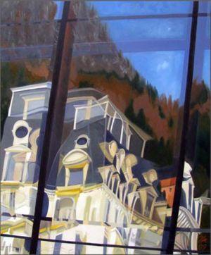 Montreux Résidence Belmont sur Stravinski Hall, Huile sur toile, 90 x 110 cm