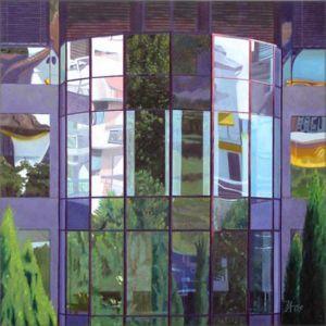 Montreux Clinique La Prairie, Huile sur toile, 120 x 120 cm