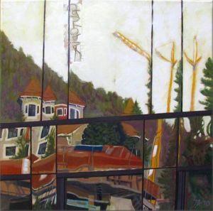 Montreux Grutopia 3, Huile sur toile, 60 x 60 cm