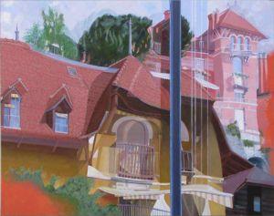 Montreux Maisons 1900, Huile sur toile, 150 x 120 cm