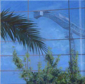 Grutopia 3, Barcelona Avenida Diagonal, Huile sur toile, 50 x 50 cm