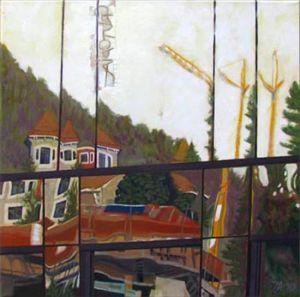 Grutopia 4, Montreux, Clinique La Prairie, Huile sur toile, 50 x 50 cm