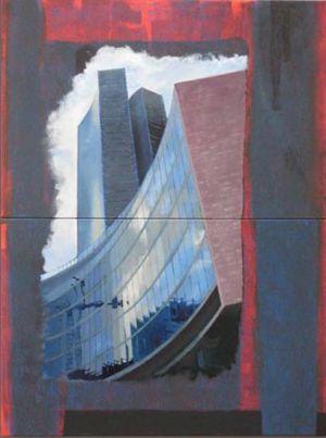 Grutopia 5, Milano Palazzo della Regione 2, Technique mixte sur toile, Diptyque 2x 120 x 80 cm