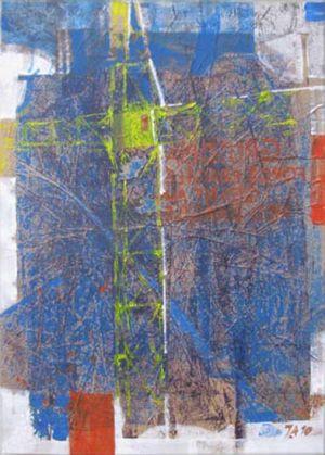 Grutopia 7, Acryl sur papier marouflé sur toile, 70 x 100 cm