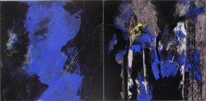 Grutopia 11, Acryl et collage marouflé sur toile, Diptyque 2x 40 x 40 cm