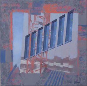 Grutopia 13, Vevey bâtiment AI, Technique mixte sur toile, 80 x 80 cm