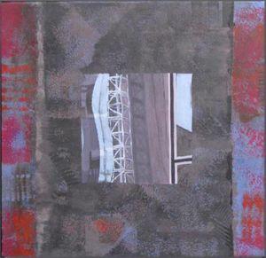 Grutopia 14, Paris La Défense 4, Technique mixte sur toile, 50 x 50 cm
