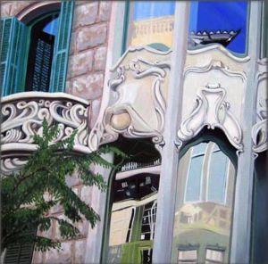 Barcelona - Casa Pedrera, Huile sur toile, 80 x 80 cm