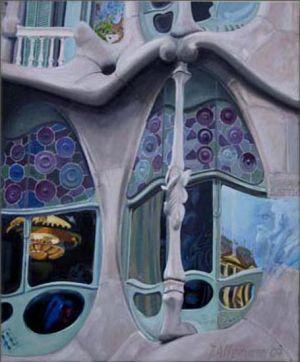 Barcelona - Casa Battlò, Huile sur toile, 50 x 60 cm