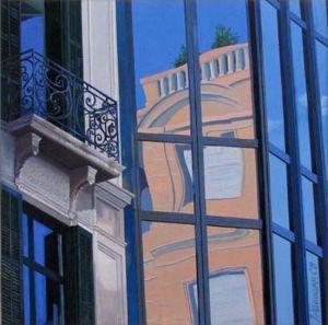 Barcelona - La Ramblà 2, Huile sur toile, 100 x 100 cm