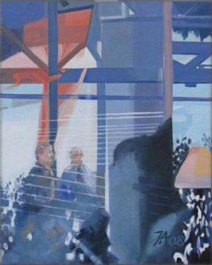 Barcelona - Café au port 1, Huile sur toile, 33 x 41 cm