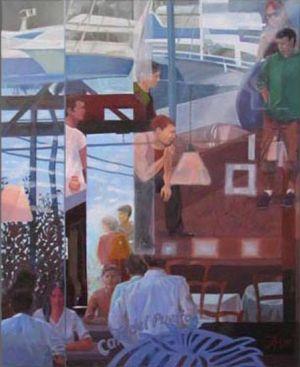 Barcelona - Café au port 2, Huile sur toile, 90 x 110 cm