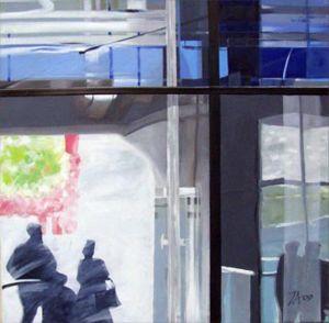 Paris - La Villette 3, Huile sur toile, 100 x 100 cm