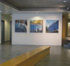 Exposition sur les murs de IMD Lausanne, Huile sur toile, Triptyque 100 x 300 cm